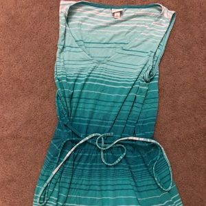 Belted green lined dress